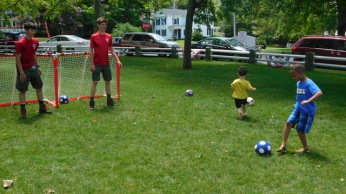 Soccer Goalies at Library Birthday Party